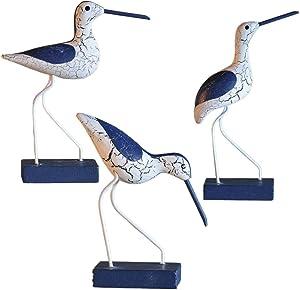 EXCEART 3Pcs Wooden Seabird Figurine Nautical Coastal Birds Ornament Mediterranean Woodcarving Statue Toy Desktop Decor for DIY Craft Home Fair Garden (Mixed)