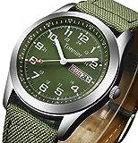 Tonnier Men's Weekender&Calendar Analog Green Canvas Strap Mans Watches