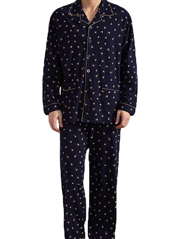 Men's Long-sleeved Cotton Pajamas, Home Service 2 Sets