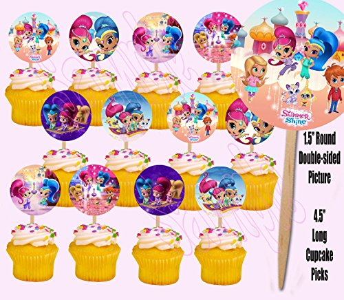 Party Over Here Shimmer and Shine Double-Sided Cupcake Picks Cake Toppers -12 pcs Nick (Over Shimmer)