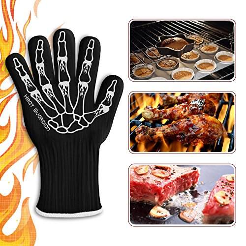 """Heat Guardian Heat Resistant Gloves – Protective Gloves Withstand Heat Up To 932℉ – Use As Oven Mitts, Pot Holders, Heat Resistant Gloves for Grilling – Features 5"""" Cuff for Forearm Protection by Heat Guardian (Image #2)"""