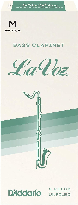 DAddario La Voz pack de 5 fuerza media Ca/ñas para clarinete bajo