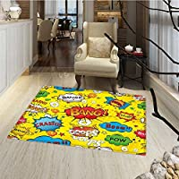 Superhero Bath Mats for floors Humor Speech Bubbles Funky Vivid Bang Boom Bam Pow Fiction Symbols Artful Design Floor Mat Pattern 24x48 Multicolor