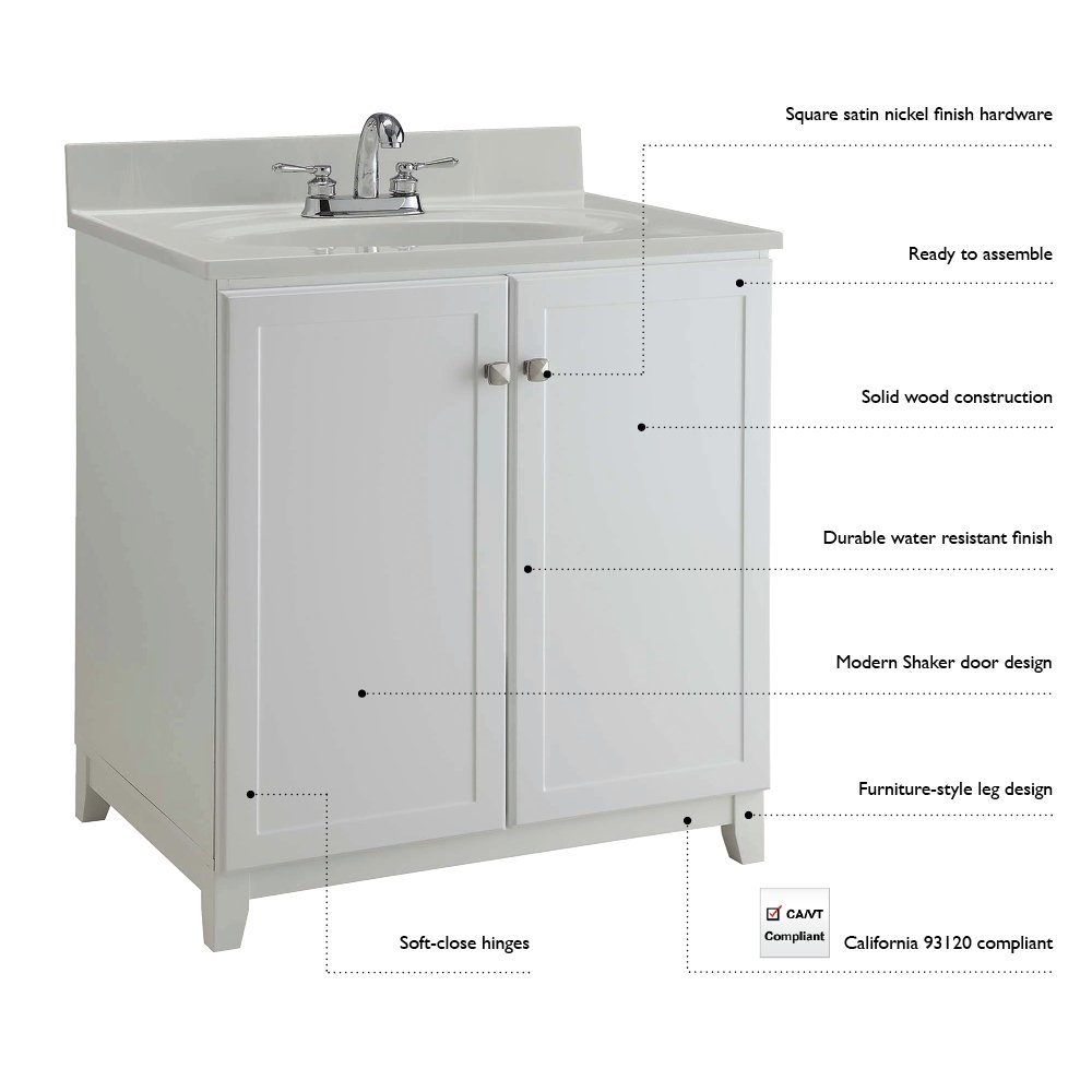 Design House 547141 Furniture-Style Vanity Cabinet, 30-Inches by 21 ...