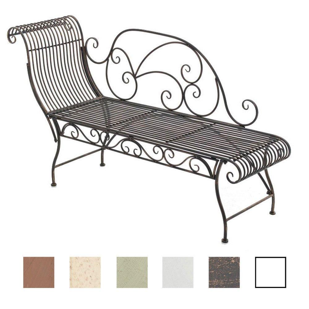 CLP Eisen-Gartenbank PARTOGUS I Recamiere mit kunstvollen Verzierungen I Stabile Sonnenliege aus Eisen I erhältlich Bronze