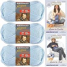Bernat Softee Chunky Solid Yarn Bundle Super Bulky Number 6, 3 Skeins Baby Blue 28127