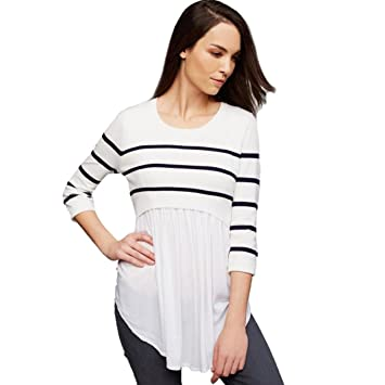 794addca433 Image Unavailable. Image not available for. Color: Women's 3/4 Sleeve  Striped Patchwork Shirt Pleated Hem Flare Flowy Maternity ...