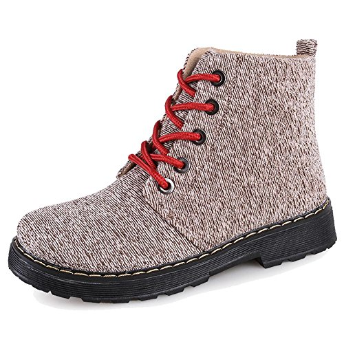 Women Martin Boots Canvas Thicker Flat Warm Ankle Shoelace Short Shoes 2-38