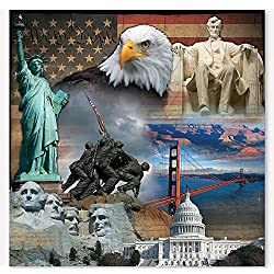 Patriotic Backdrop Banner (6 Ft. X 6 Ft.) - Party Decorations & Backdrops & Scene Setters