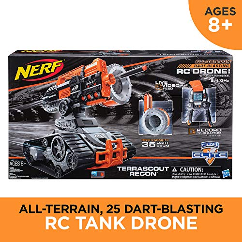 61hyu25USNL - TerraScout Recon Nerf Toy RC Drone N-Strike Elite Blaster with Live Video Feed 18 Official Nerf Elite Darts and Rechargeable Battery For Kids, Teens, and Adults