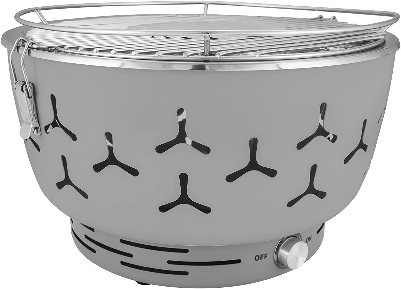 eSituro Barbecue Grille Charbon électronique Barbecue Portable Ventilateur pour Camping, Vert, SBBQ0004 Gris