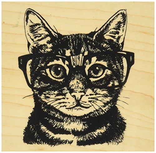 "Inkadinkado 60-01220 Mounted Rubber Stamp, 3"" x 3"", Nerdy Cat, Red"
