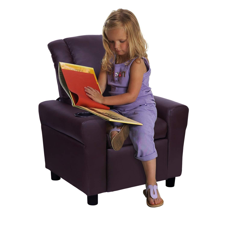 Windaze Children Recliner for Little Boys Girls Small Sofa Chair with Cup Holder Soft Headrest for Boys Girls,Brown