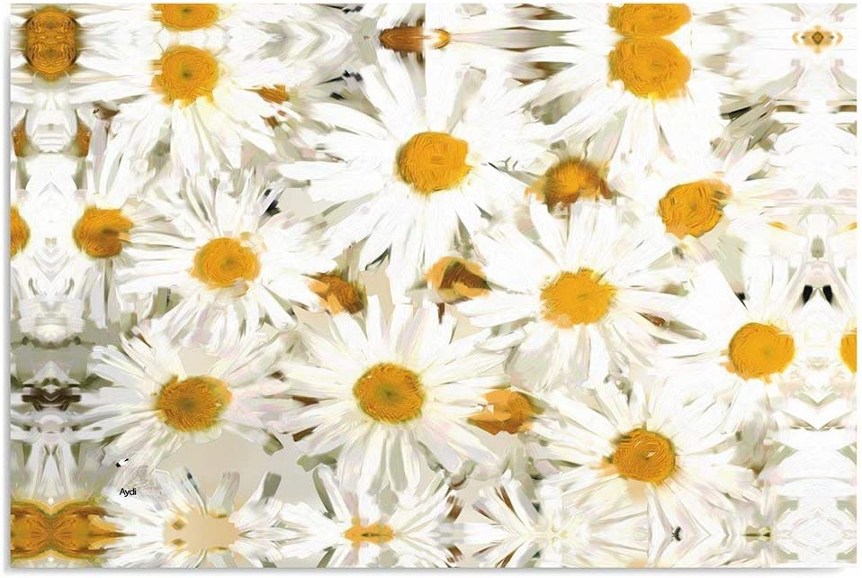 Cuadro de arte de pared de lienzo Ramo moderno Margaritas Blanco amarillo Impresión de lienzo Pintura de arte de pared para el hogar Cuadro decorativo 40x60 cm (15,7x23,6 pulgadas) con marco