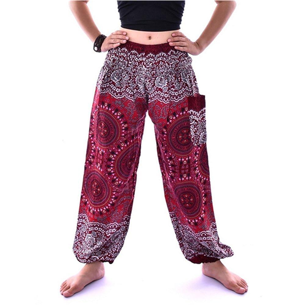 Rosso huateng Pantaloni da Donna thailandese Pantaloni Lanterna thailandese Pantaloni Etnici Allentati Pantaloni a Vita Alta in Cotone