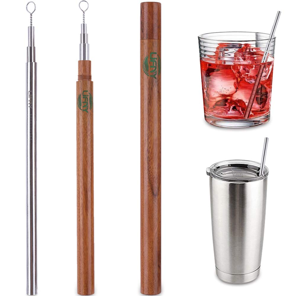 Eco-friendly Reusable,Premium Stainless Steel Metal Drinking Straws for Travel 8.5'' Set of 6 Reusable Straws with Case Smoothie Straws for Yeti/Ozark& 2 Handcrafted Wooden Travel Cases &2Brushes
