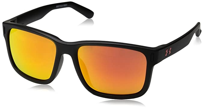 44de75695ba8 Under Armour UA Rookie Square Sunglasses, UA Rookie Satin Black Frame /  Gray / Orange