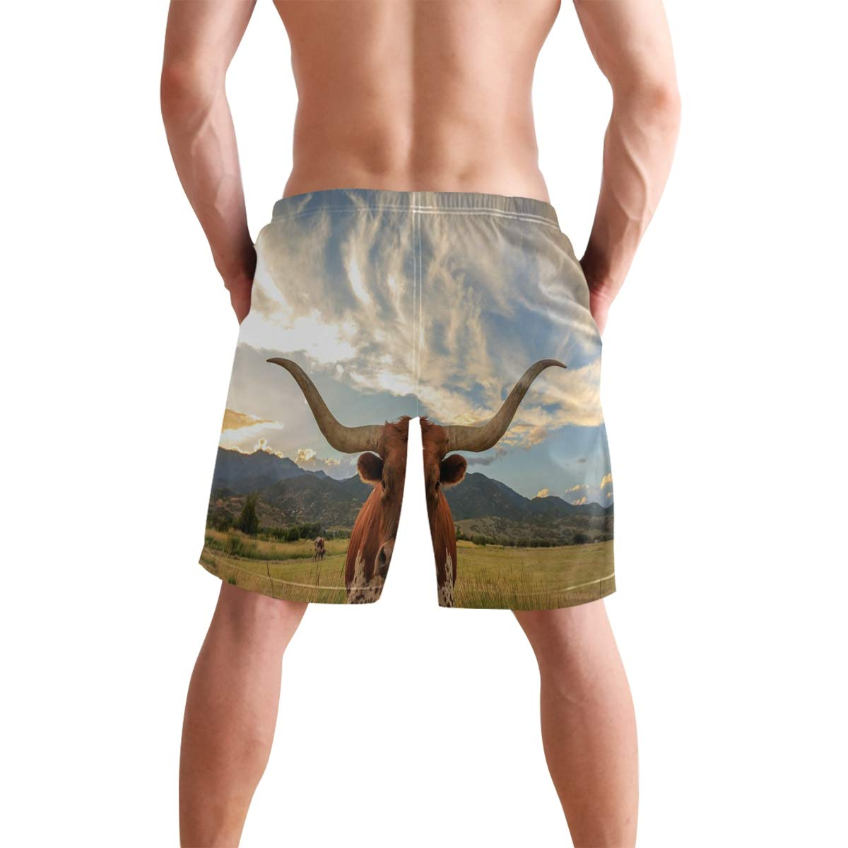 Mens Shorts Texas Longhorn Steer Pajamas Short Bottoms Pants for Boys