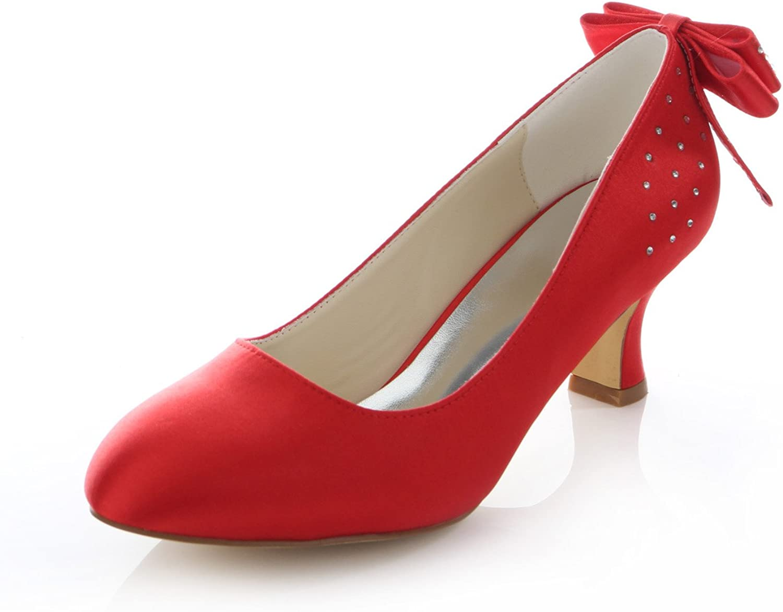 Amazon Com Emily Brida Red Bridal Pumps Bow Rhinestone Satin Wedding Heels For Women Pumps