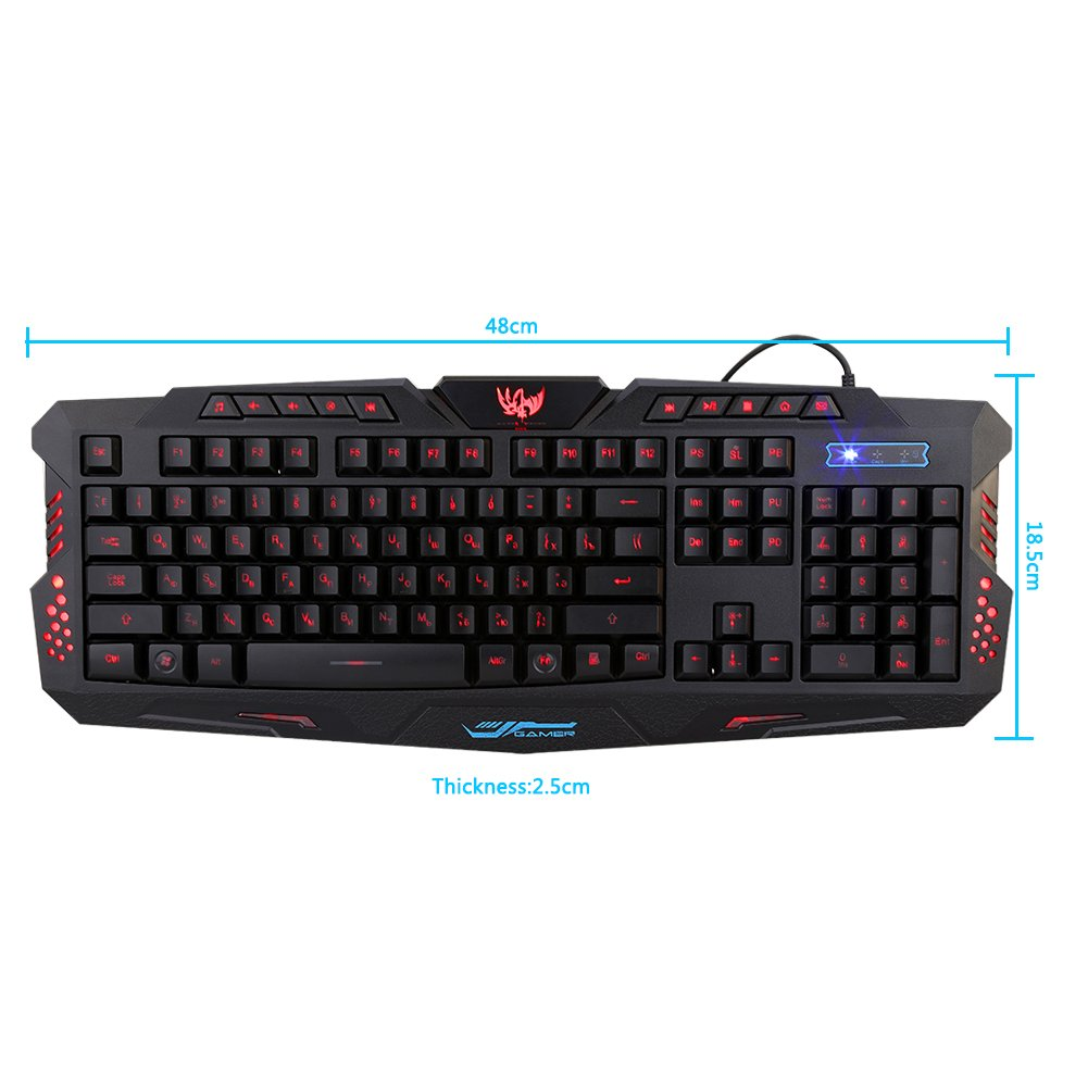 VGEBY Gaming Keyboard Russian And English 3 Color Backlight Wired Keyboard For Computer Mac