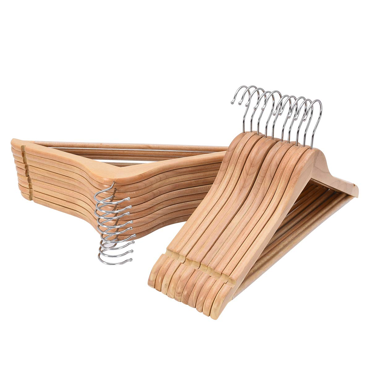 Elong Home Solid Wood Suit Hangers, Wooden Coat Hangers with Extra Smooth Finish, 360° Swivel Hook & Non-Slip Pants Bar, 20 Pack