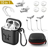 AirPods Case, YICTONE 10 in 1 AirPods Accessories Set Protective Silicone Cover and Skin Compatible Apple AirPods Charging Case with Watch Band Holder/Ear Hook/Keychain/Strap/Carrying Box
