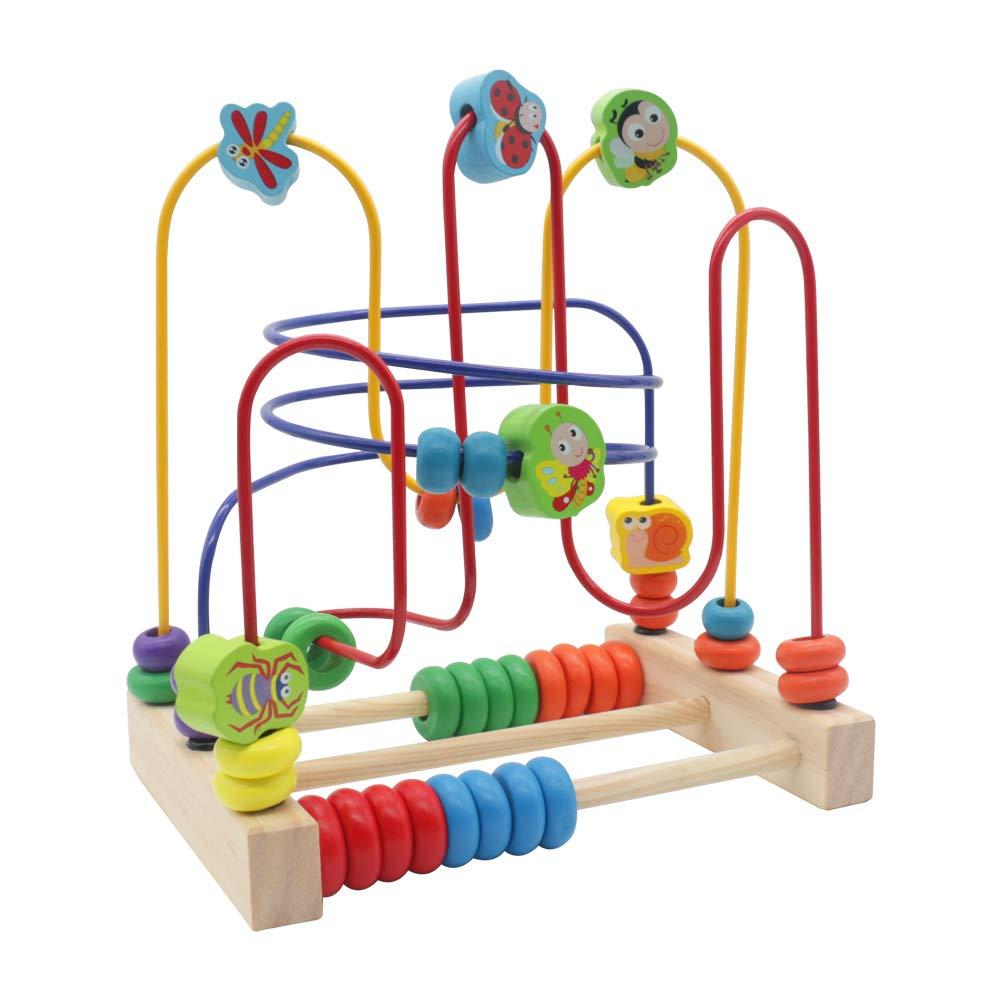 Yoptote Circuits de Motricité Cube Activite pour Bebe Insecte Jouet Perle Cube en Bois Enfant Perle Labyrinthe pour Enfants Plus de 3 Ans Taote Toys Factory