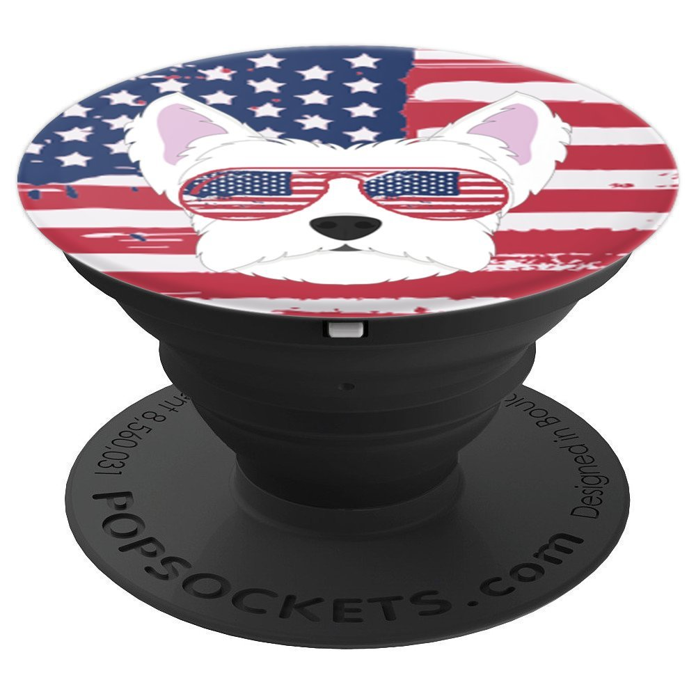 Proud Westie White Terrier Patriotic Dog Flag Sunglasses - PopSockets Grip and Stand for Phones and Tablets