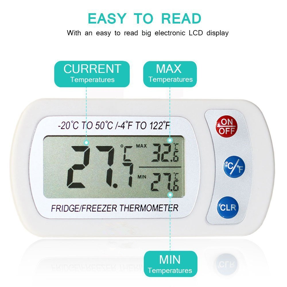 -4 to 140 Fahrenheit Restaurant Refrigerator Thermometer for Home Bar iBetterLife Digital Waterproof Wireless Fridge Freezer Temperature Monitor w//Hook /& Large LCD Display from -20 to 60 Degree