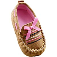 Weixinbuy Baby Girls' Cotton Slip On Brown Loafer Shoe