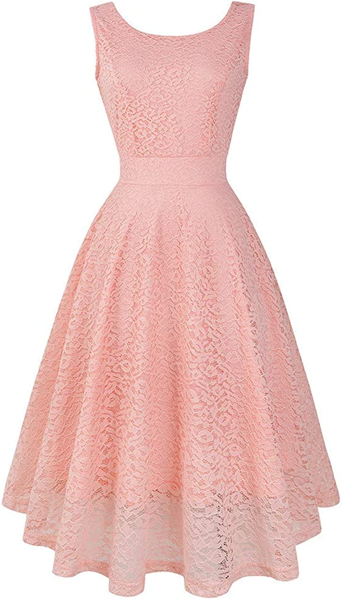 Xmiral Damen Kleid Spitze Vintage Prinzessin Blumenspitze Cocktail  Ausschnitt Party A-Line Swing Knöchellangen Kleider