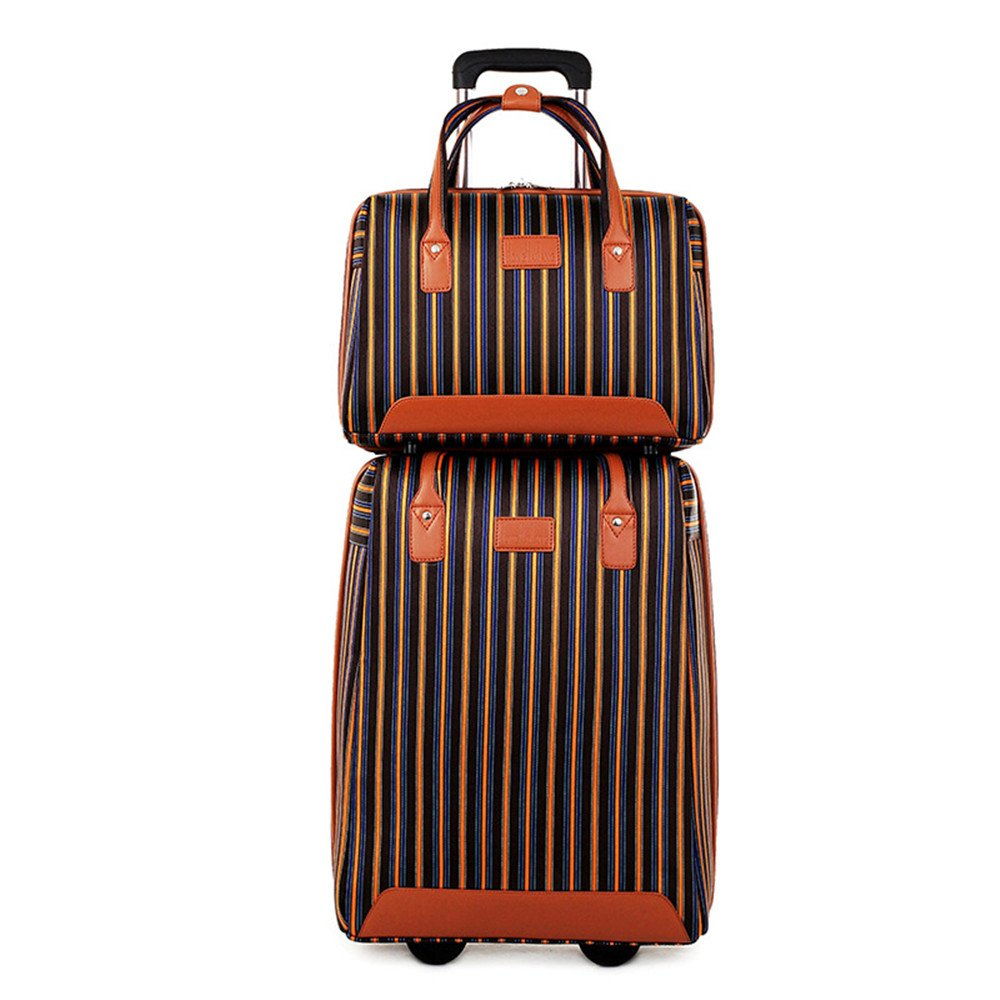 GLJJQMY オックスフォード布箱カジュアルなトロリーケース色のストライプスーツケース、20インチ トロリーケース (Color : Brown) B07TH8C59X Brown