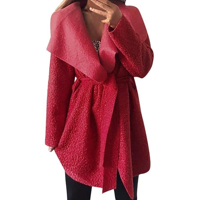 Linlink Abrigos Mujer Invierno Elegantes Irregulares Cuello Solapa Outwear Capa cincha Cintura con Chaqueta de cinturón gabán: Amazon.es: Ropa y accesorios