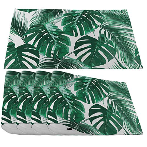Moslion Palm Leaves Placemats,Tropical Jungle Leaf Summer Hawaii Maimi California Beach Tree Place Mats for Dining Table/Kitchen Table,Waterproof Non-Slip Washable Outdoor Dinner Table Mats,Set of 4