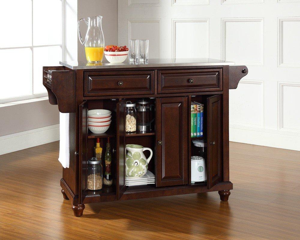 Amazon Com Crosley Furniture Cambridge Stainless Steel Top Kitchen Island White Kitchen Dining