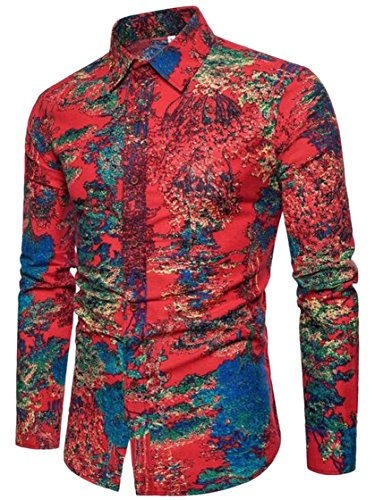 ONTBYB Men's Stylish Long-Sleeved 3D Tie-Dye Printing Button Front Shirt 1 L Long Sleeved Tie Dye