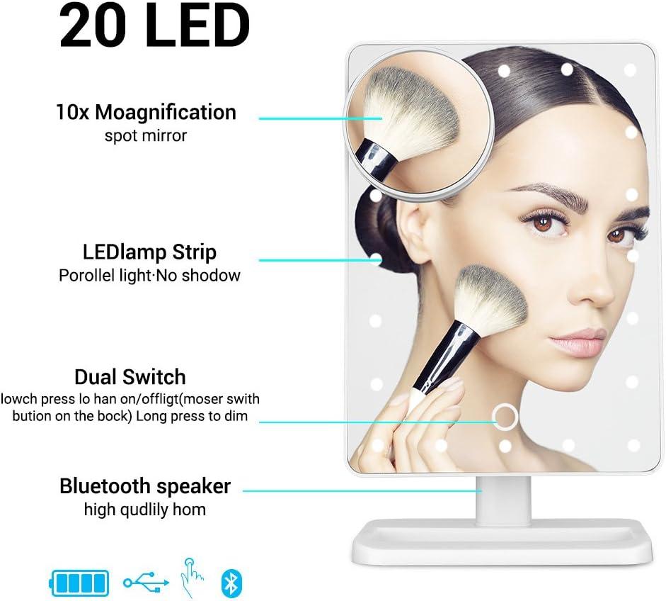 LUXACURY Miroir de Maquillage LED Bluetooth avec /écran Tactile et grossissement 10x sans Fil Bluetooth kit Mains Libres et Chargeur USB Bluetooth LED Miroir