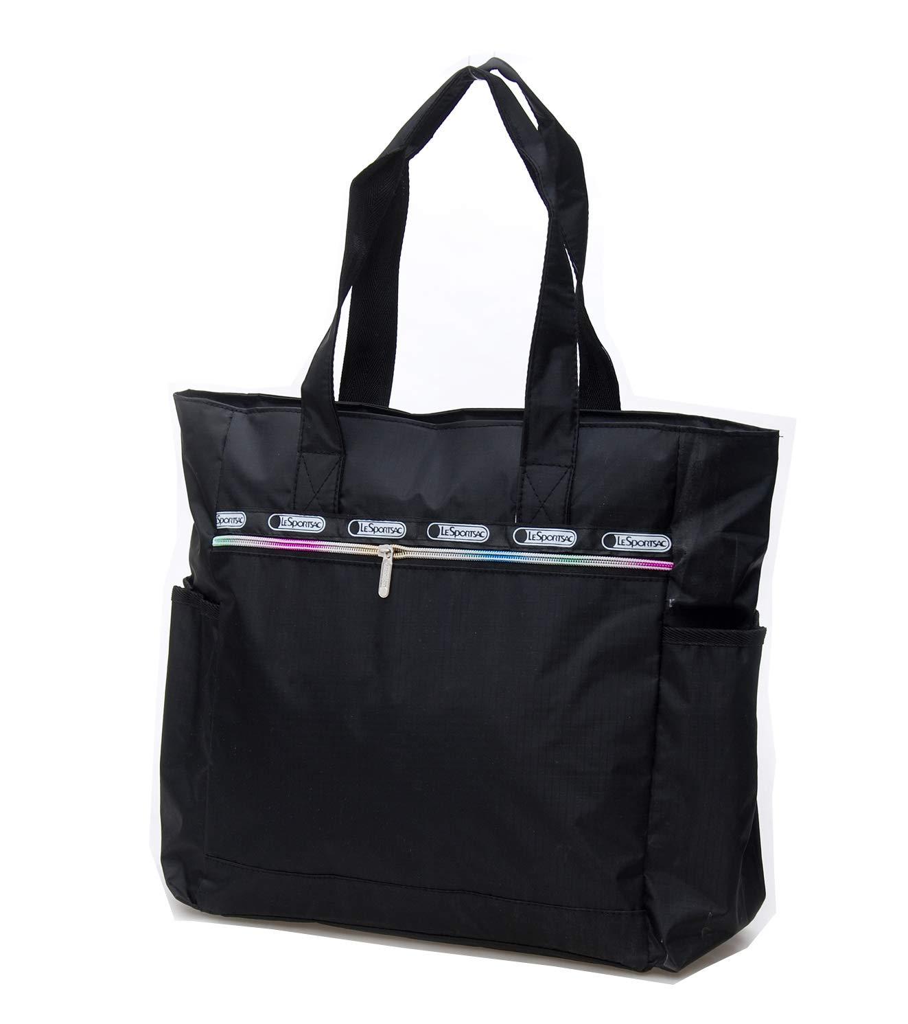 Nylon Large Lightweight Tote Bag Shoulder Bag for Gym Hiking Picnic Travel Beach Waterproof Tote Bags (Black TB)