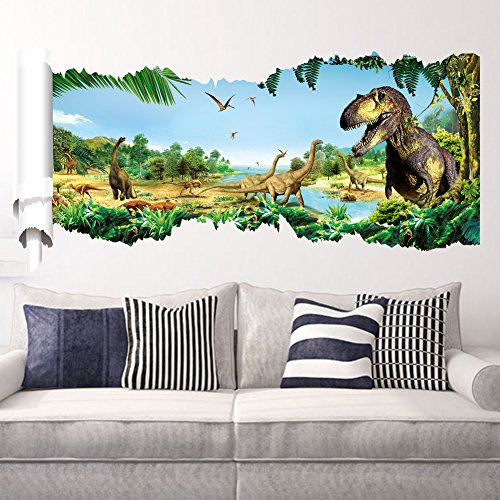 EMIRACLEZE Christmas Gift Jurassic Park Dinosaur River Forest Tree Removable Mural Wall Stickers Wall Decal for Children Home Decor(B)