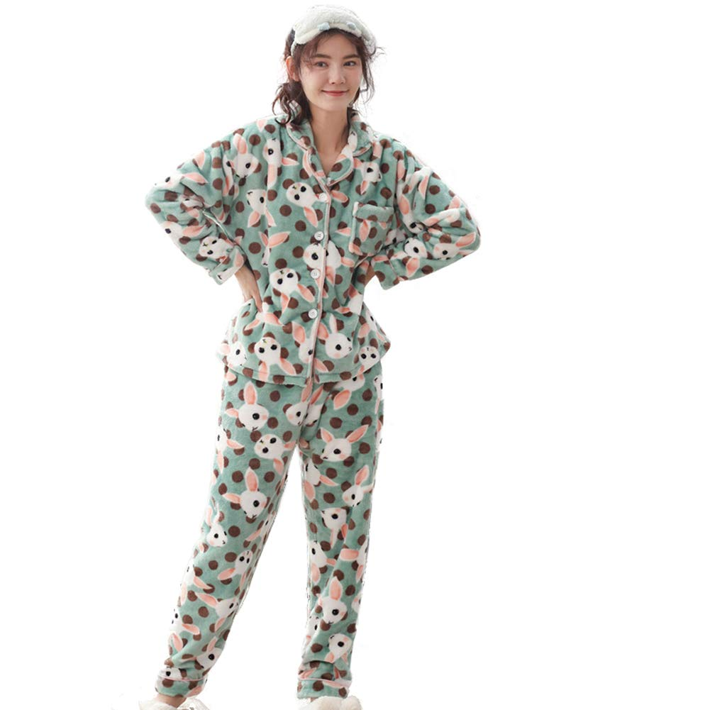 F6298a MINGXINTECH Womens Flannel Pajama Set with Pants Cashmere Soft Plush Homewear