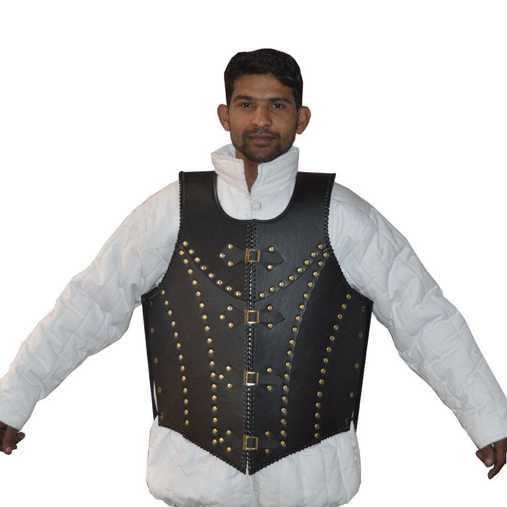 NASIR ALI BEST QUALITY Medieval Black Leather dragon warrior Armor jacket costume larp