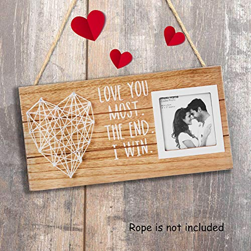VILIGHT for Boyfriend and Girlfriend Couples Picture Frame - Love You Most The End I Win Rustic Wood Plaque Sign for 3 Inches Photo