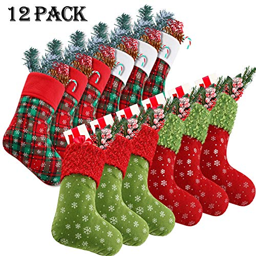 Syhood 9 Inch Christmas Mini Stockings Plaid Snowflake Christmas Stockings Christmas Tree Hanging Stocking for Xmas New Year Party Decorations (12) (Christmas In Bulk Stockings)