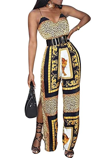 3aef9087e3 Amazon.com: Women Sexy V Neck Spaghetti Straps Traditional Dashiki Leopard  Print Sides Split Belt Wide Leg Long Pants Jumpsuits: Clothing