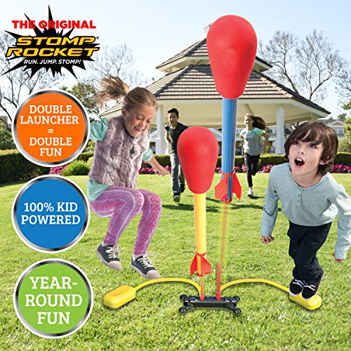Stomp Rocket The Original Dueling Rockets Launcher, 4 Rockets and Toy Rocket Launcher - Outdoor Rocket STEM Gift for Boys and Girls Ages 6 Years and Up - Great for Outdoor Play