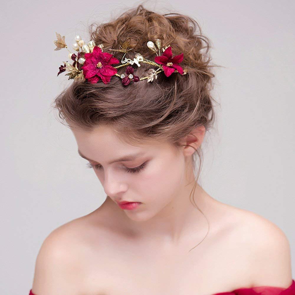 Flores Rojas Matrimonio Adornos para el Cabello Novia Tocado Cabello Aro Banda para el Cabello Rojo