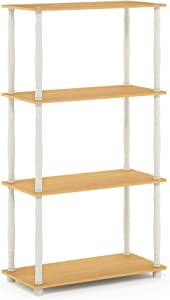 Furinno Turn-N 4-Tier Multipurpose Shelf Display Rack with Classic Tubes, Beech/White