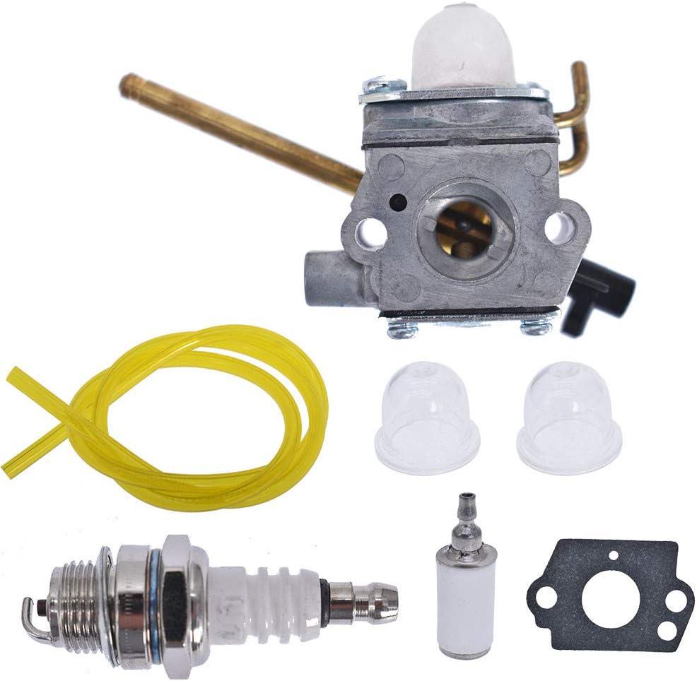 TJHSM Leaf Blower Carburetor Fuel Line Filter Spark Plug Kit for Homelite UT-08520 UT-08921 UT-08550 UT-08951 26CC 308028007