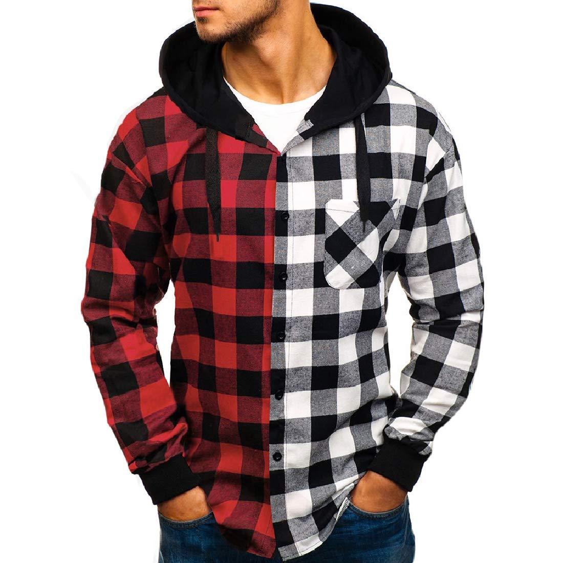 CRYYU Men Plaid Check Buttons Business Casual Drawstring Hoodie Dress Shirts