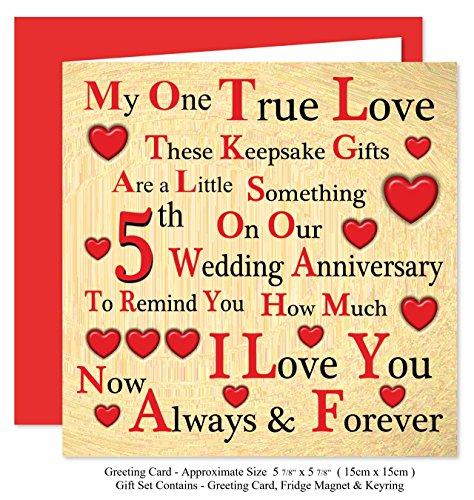 Our 5th Wedding Anniversary Gift Set Card Keyring Fridge Magnet